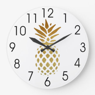 Golden Pineapple, Fruit in Gold Large Clock