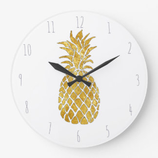 golden pineapple large clock
