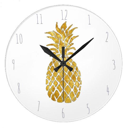 golden pineapple large clock