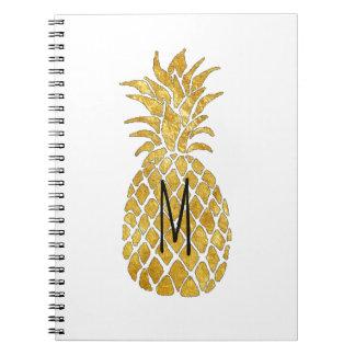 golden pineapple monogram notebooks
