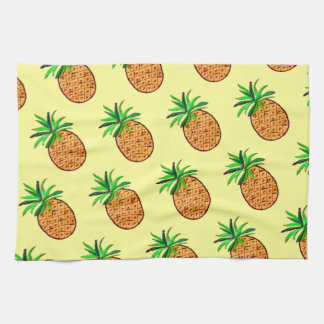 Golden Pineapple on pale yellow Tea Towel