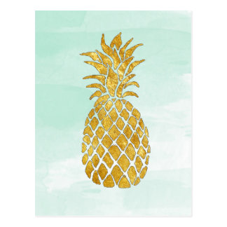 golden pineapple on watercolor mint postcard