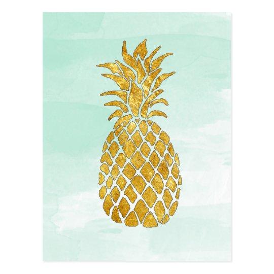 golden pineapple on watercolor mint postcard