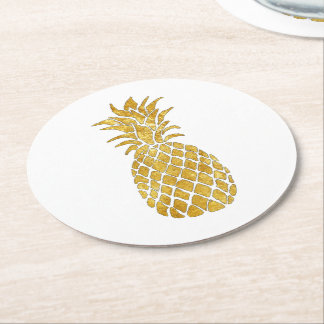 golden pineapple round paper coaster