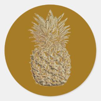 Golden Pineapple Round Sticker