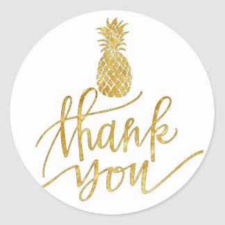 golden pineapple thank you round sticker