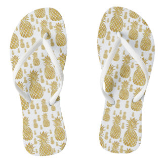 golden pineapples flip flops