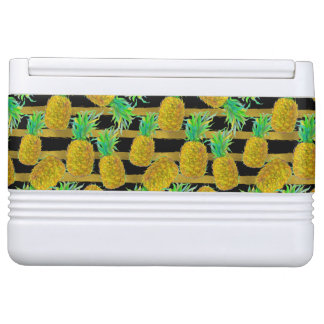 Golden Pineapples On Stripes Igloo Cool Box