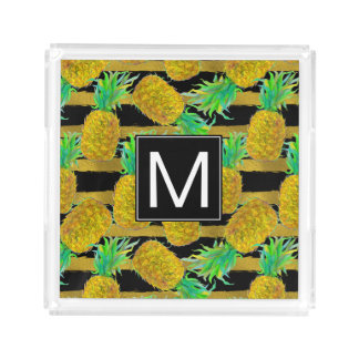 Golden Pineapples On Stripes | Monogram Acrylic Tray