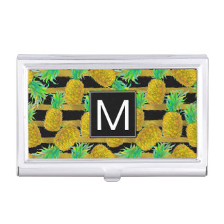 Golden Pineapples On Stripes | Monogram Business Card Holder