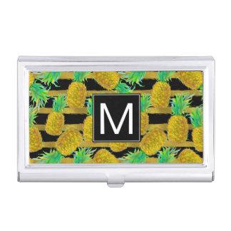 Golden Pineapples On Stripes | Monogram Case For Business Cards