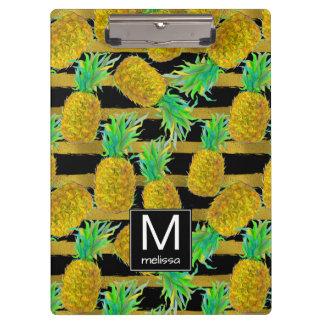 Golden Pineapples On Stripes | Monogram Clipboard