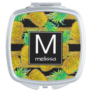 Golden Pineapples On Stripes | Monogram Compact Mirror
