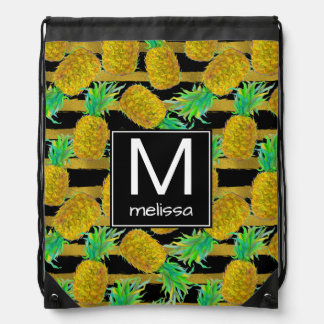 Golden Pineapples On Stripes | Monogram Drawstring Bag