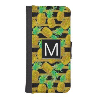 Golden Pineapples On Stripes | Monogram iPhone SE/5/5s Wallet Case