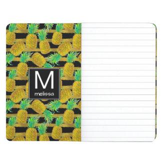 Golden Pineapples On Stripes | Monogram Journal
