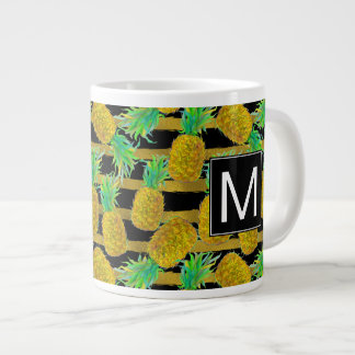 Golden Pineapples On Stripes | Monogram Large Coffee Mug