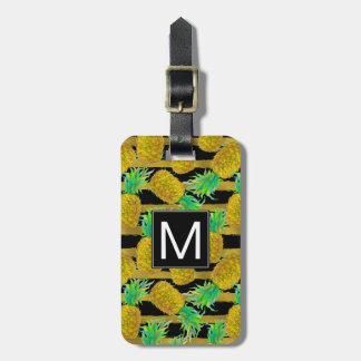 Golden Pineapples On Stripes | Monogram Luggage Tag