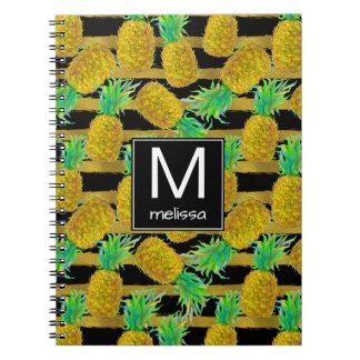 Golden Pineapples On Stripes | Monogram Notebooks