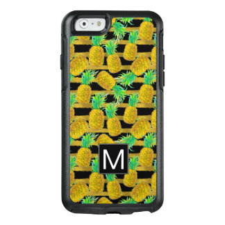 Golden Pineapples On Stripes | Monogram OtterBox iPhone 6/6s Case