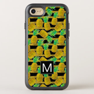 Golden Pineapples On Stripes | Monogram OtterBox Symmetry iPhone 8/7 Case