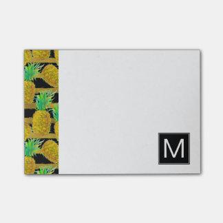 Golden Pineapples On Stripes   Monogram Post-it Notes
