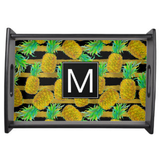 Golden Pineapples On Stripes | Monogram Serving Tray