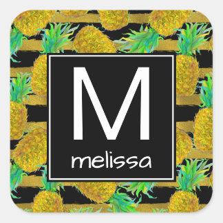 Golden Pineapples On Stripes   Monogram Square Sticker