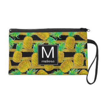 Golden Pineapples On Stripes | Monogram Wristlet Clutches