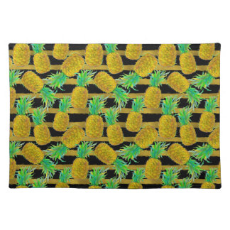 Golden Pineapples On Stripes Placemat