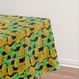 Golden Pineapples On Stripes Tablecloth