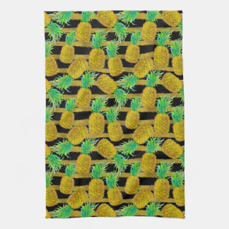 Golden Pineapples On Stripes Tea Towel