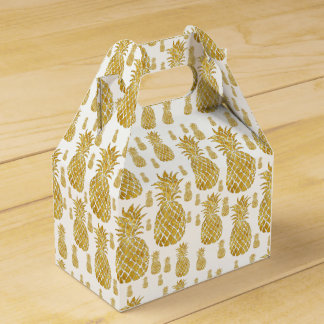 golden pineapples tropical pattern party favour box