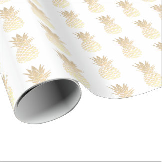 golden pineapples wrapping paper