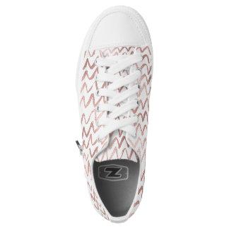 Golden Pink Foil Zig Zag Modern Minimalism Printed Shoes