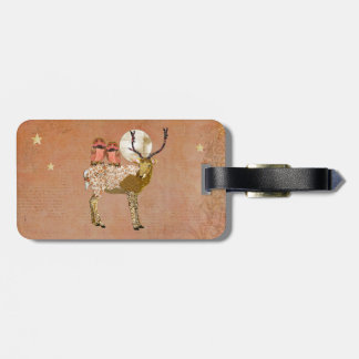 Golden Pink Gypsy Owls & Ornate Buck Moonlight  Lu Luggage Tags