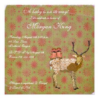 Golden Pink Owls Ornate Deer Baby Shower Invita Custom Invites