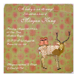 Golden Pink Owls & Ornate Deer  Baby Shower Invita 5.25x5.25 Square Paper Invitation Card