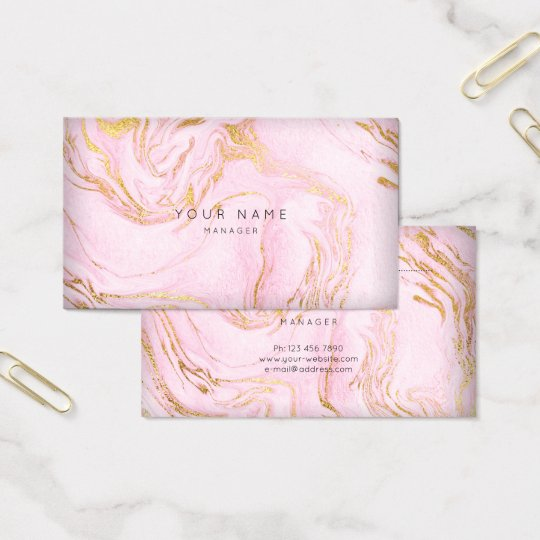 Golden Pink Rose Blush Marble Appointment Card