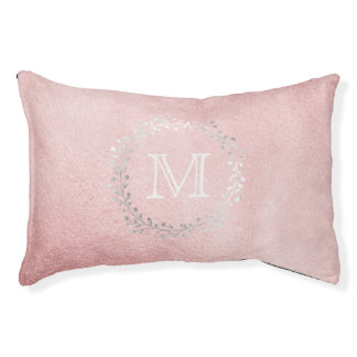 Golden Pink Silver Wreath Monogram Princess Pet Bed