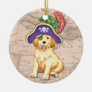 Golden Pirate Christmas Ornament