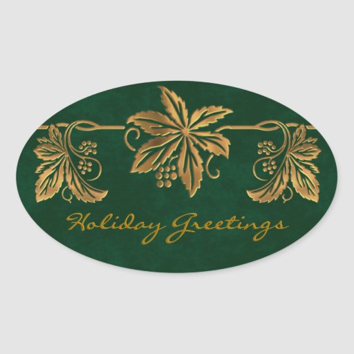 Golden Poinsettia Holiday Greetings Stickers
