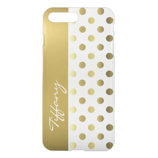 Golden Polka Dots Clear iPhone7 Plus Case
