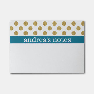 Golden Polka Dots with Blue Post-it Notes