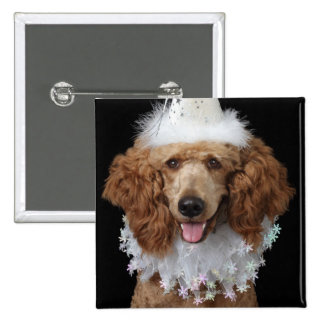 Golden Poodle Dog wearing a white clown costume 15 Cm Square Badge