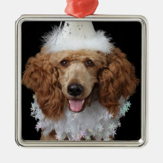 Golden Poodle Dog wearing a white clown costume Christmas Ornament