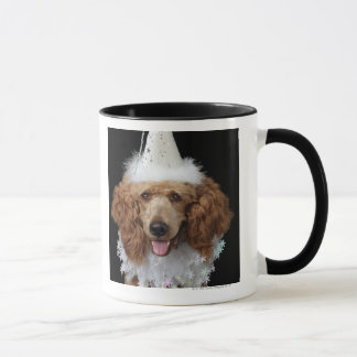 Golden Poodle Dog wearing a white clown costume Mug
