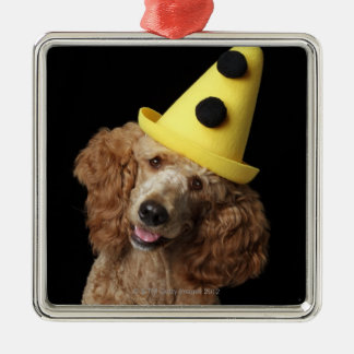 Golden Poodle Dog wearing a yellow clown hat Christmas Ornament