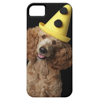 Golden Poodle Dog wearing a yellow clown hat iPhone 5 Cover