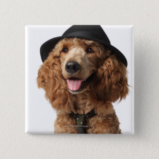 Golden Poodle Dog wearing Hat and Tie 15 Cm Square Badge